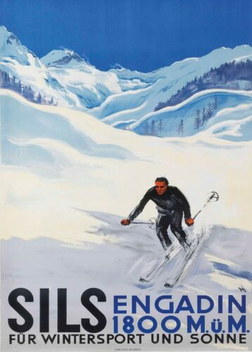 Art Deco A3 Travel Print 1930 Vintage Ski Posters SILS ENGADIN Swiss