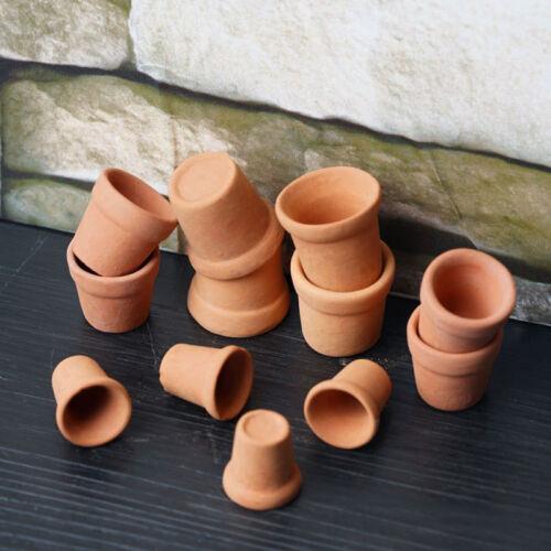 12Pcs Dollhouse 1:12 Miniature Flower Handmade Red Clay Pot Garden Home