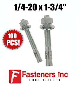 Qty-100-1-4-20-x-1-3-4-034-Concrete-Wedge-Anchor-Zinc-Plated