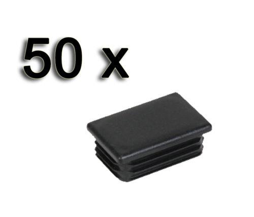 50x Rechteckige Abschlusskappen Endkappen Lamellenstopfen 20x50mm schwarz*ZP2050