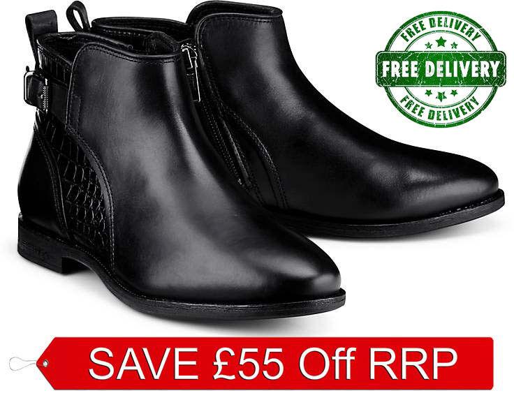 Nuevo UGG BNIB £ 170 Zapatos de tobillo de piel de piel de cocodrilo Botas Chelsea Biker SALE