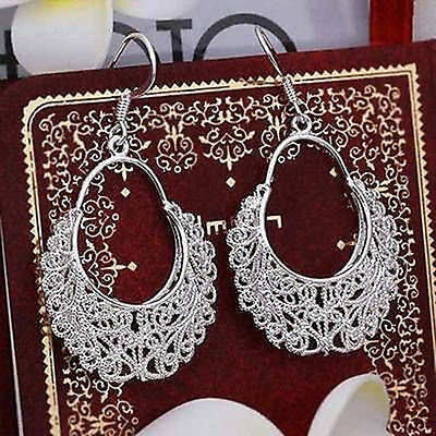 Hot Winsome 925 Silver Women's Hollow Waggle Dangle Drop Hook Earrings