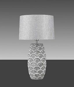 Tischleuchte h66cm 33cm keramik lampe tischlampe hockerlampe hockerleuchte brau ebay - Keramik tischleuchte ...