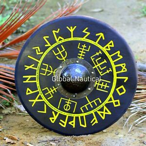 """Deeply Carved Handmade Wooden Viking Shield Norse Compass Design 24"""" Shield"""
