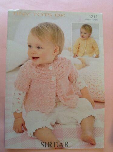 Sirdar Snuggly Tiny Tots D//K Cardigan Knitting Pattern 1212 Sizes Birth-7yrs