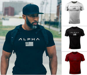 Alphalete-Alpha-Men-039-s-Gym-T-shirt-Bodybuilding-Fitness-Training-Top-Muscle-te-IC