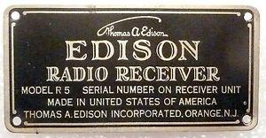 vIntage EDISON  R-5 * TUBE RADIO:  EDISION ID TAG w/ 3 ORIGINAL NAILS