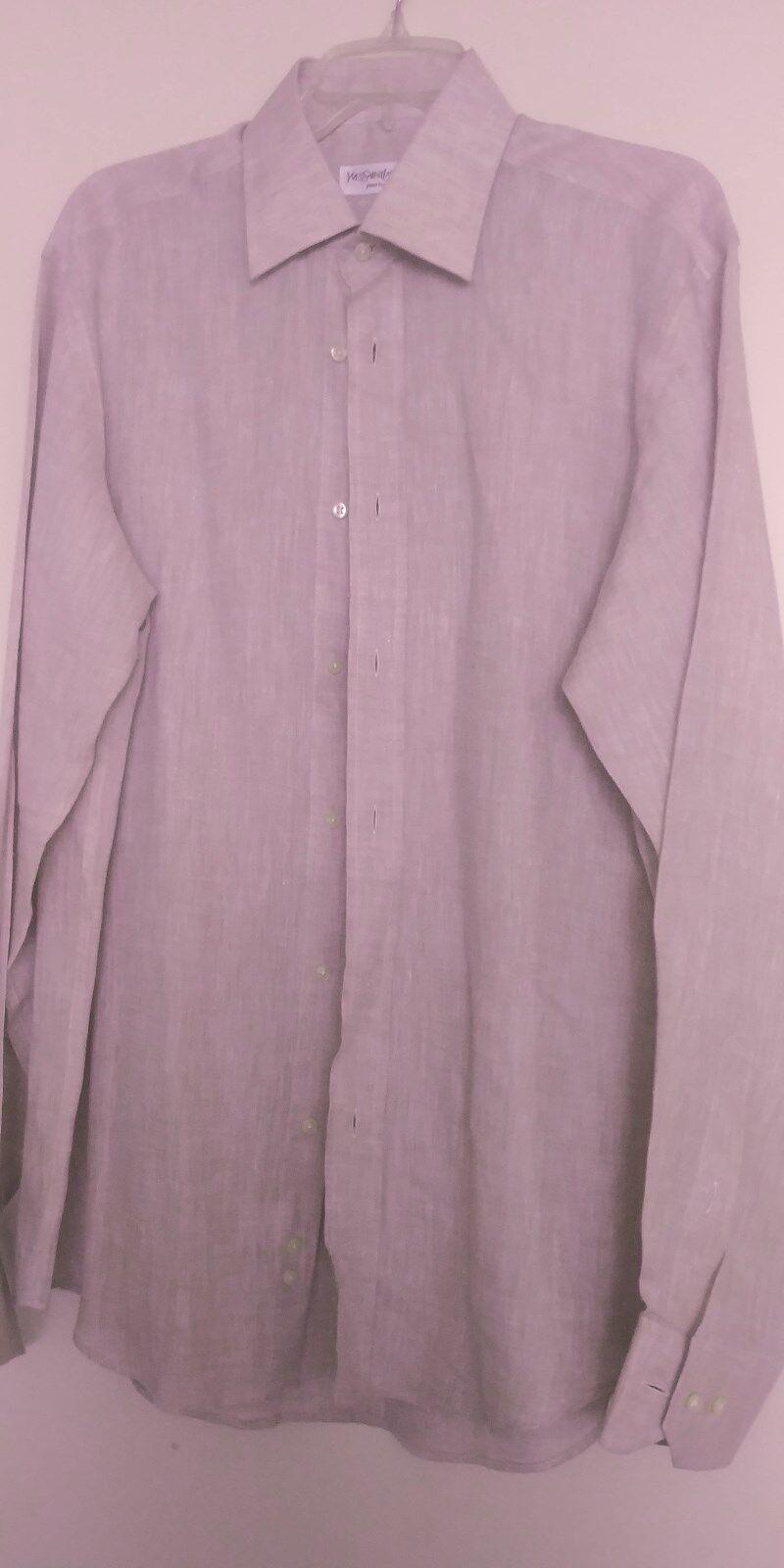 YVESSAINTLAURENT LINEN DRESS SHIRT SIZE 16.5 395 SAKSFIFTH AVENUE