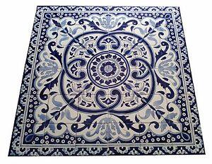 Grosses Fliesenbild Handbemalte Fliesen Blau Weiss Fliessen Mosaikbild