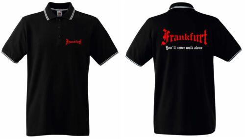 "Frankfurt Herren Polo-Retro T-shirt You/""ll never walk alone"