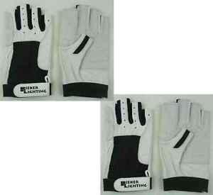 2 Paar Motorsport Fahrerhandschu<wbr/>he Gr. XL / 10 Rindsleder fingerlos Handschuhe