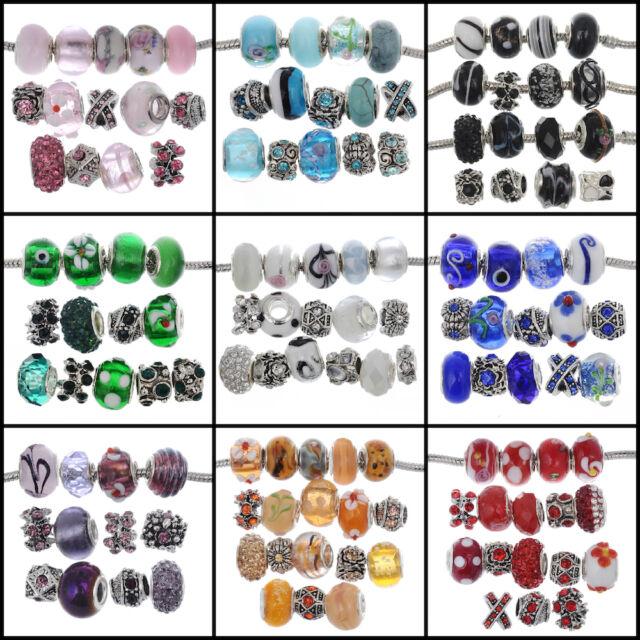 eART 15pcs Mix Murano Glass Beads Crystal Tibetan Fit European Charm Bracelet