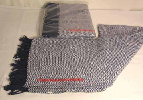 Navy Blue Set of 2 New York Presbyterian Hospital Fringed Cotton Blanket Throw