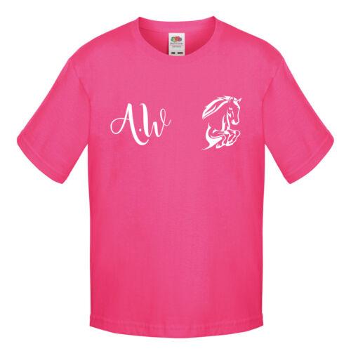 Personalizzato equestre T-shirt Ragazze Equitazione T-shirt con iniziali KID L154