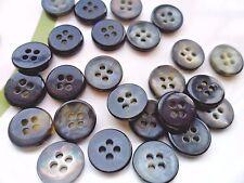 70pcs Buttons Round Black Like Shell Shiny Plastic Sew Dress Craft 4 Holes 12mm