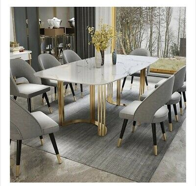 Modern Rectangular Dining Table With Gold Base And White Marble Top Seats 8 10 Ebay