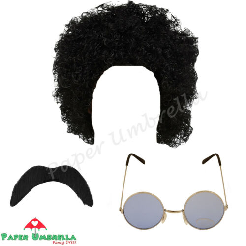 Wig Moustache Glasses Fancy Dress 1970s 1980s Stag Night Hippy Afro Costume