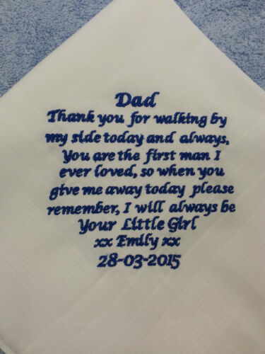 PERSONALISED MEN WEDDING HANKIE GIFT DAD STEPDAD  GENTS FAMILY ANNIVERSARY