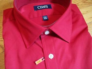 NWT NEW mens dark red CHAPS wrinkle free stretch collar dress shirt $50 retail