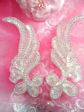 XR134 Appliques Crystal AB Sequins Mirror Pair Silver Beads Iron On 6""