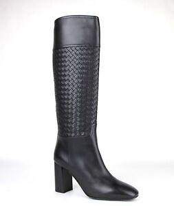 1750-Bottega-Veneta-Women-Black-Leather-Boot-Heels-w-woven-Detail-389229-1000