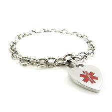 MyIDDr - Womens Diabetic Bracelet Medical ID Charm Steel, Pre-Engraved