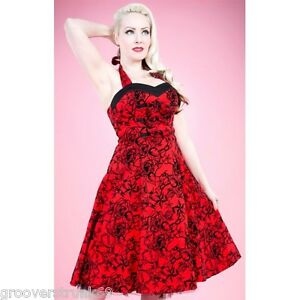 H-amp-R-London-Red-Flocking-Long-Dress-Retro-Vintage-Pinup-Steampunk-Style