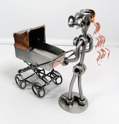 Femme avec landau et bébé Hinz & Kunst en acier