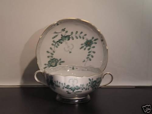 Meissen Indische Malerei grün leicht leicht leicht Suppentasse 2tlg.     Verrückter Preis, Birmingham  943da1