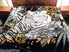 THICK 11 POUND HEAVY 2PLY SOFT QUEEN KOREAN STYLE MINK BLANKET WHITE Lion TIGERS