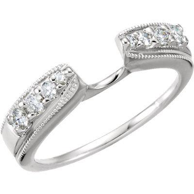 1/4 Ctw Diamond Ring Enhancer 14kt White Gold Size 6 Engagement Ring Enhancer Engagement & Wedding