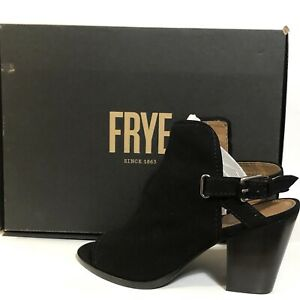 016ab629230 Frye Dani Shield Sling Leather Suede Open Peep Toe Sandal Bootie ...