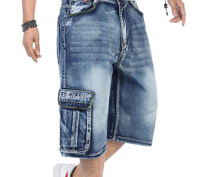 Mens Loose Denim Cargo Short Denim Hip Hop baggy Pants Shorts Jean 30-46 Plus