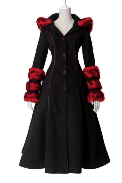 New Lolita Winter Womens Coat Jakcet Reversible Goth Punk Kera Long dress S-3XL