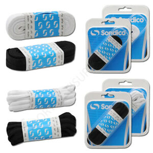 Football-Boot-Laces-Sondico-Sports-Rugby-Netball-Chaussures-Plat-Ovale-Noir-Blanc