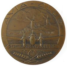 Windmill aviation airplane AVIA CLUB - PAUL DUMONT CUP by Baudichon bronze 50mm