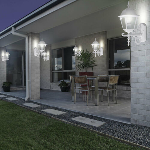 6x Fassaden Leuchten Außen Wand Laternen ALU Landhaus Stil Beleuchtung Glas klar