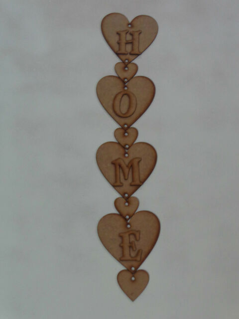 Hanging Hearts with HOME letters 4 x 100mm hearts 2mm Wooden MDF Craft Blank