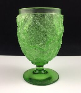 Antique-Victorian-Craquelle-OVERSHOT-Glass-Green-4-1-4-034-Footed-Tumbler-Goblet