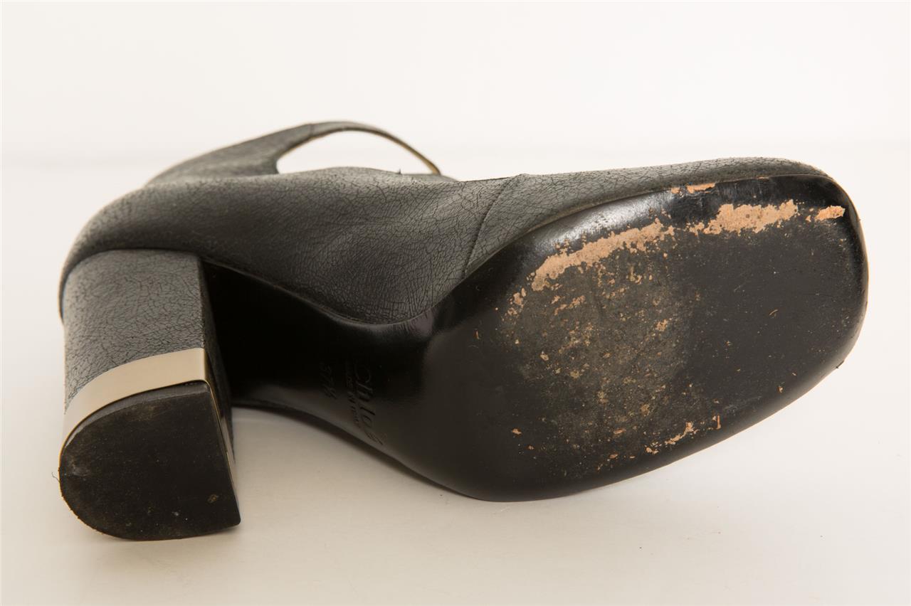 CHLOE Womens Black Crackled Leather gold 3-Buckle Mary Mary Mary Jane Block Heel 7.5-37.5 693e02