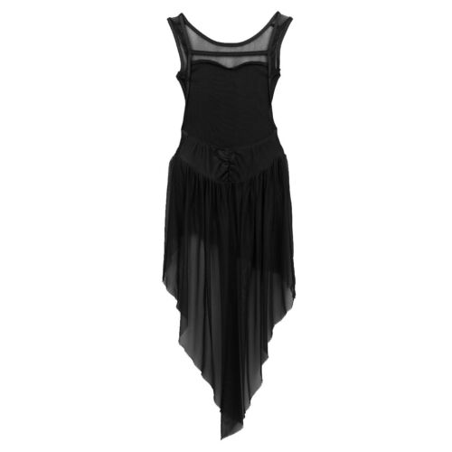 Girls Tulle Lyrical Dress Ballet Gym Leotard High-Low Skirt Dancewear Costumes