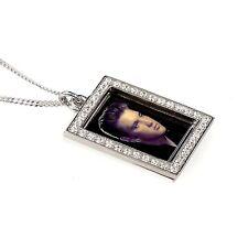 Elvis Presley Photograph Pendant - Hallmarked Silver with Swarovski Crystals
