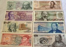 Mexico Pesos Lot Of 8 Genuine Mexican Bank Notes Unirculated