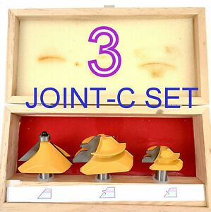 """3pc 1/2"""" SH 1"""" Depth Chamfer, 45° Miter, Small 45° Miter Joint-C Router Bit Set"""