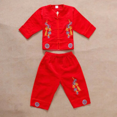 Baby Kids Boys Girls Chinese Costumes Tang Suit Style Tops+Pants 2PCS Outfit Set
