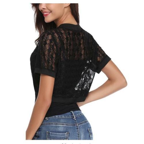Coat Hollow Out Short-sleeve Ladies Girl Lace Wrap Short Shawl Cardigan JA