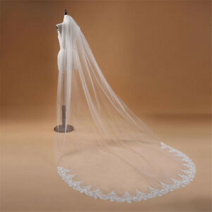 Voile-Marriage-3M-One-Layers-Lace-Edge-White-Ivory-Cathedral-Bridals-Veils-Long