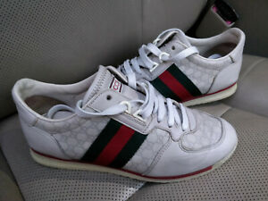 Gucci-GG-Ace-Lace-Up-Leather-Sneakers-Shoes-Trainers-Web-Stripe-Guccissima-Gray