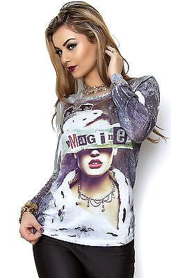 MISSY Shirt mit Strass Langarmshirt Imagine mehrfarbig Gr. S/M M/L L/XL