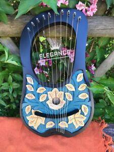 Amical Harpe Lyra à 10 Métal Cordes Rosewood Main Gravé Couleur Noir/lyre Harpe-afficher Le Titre D'origine